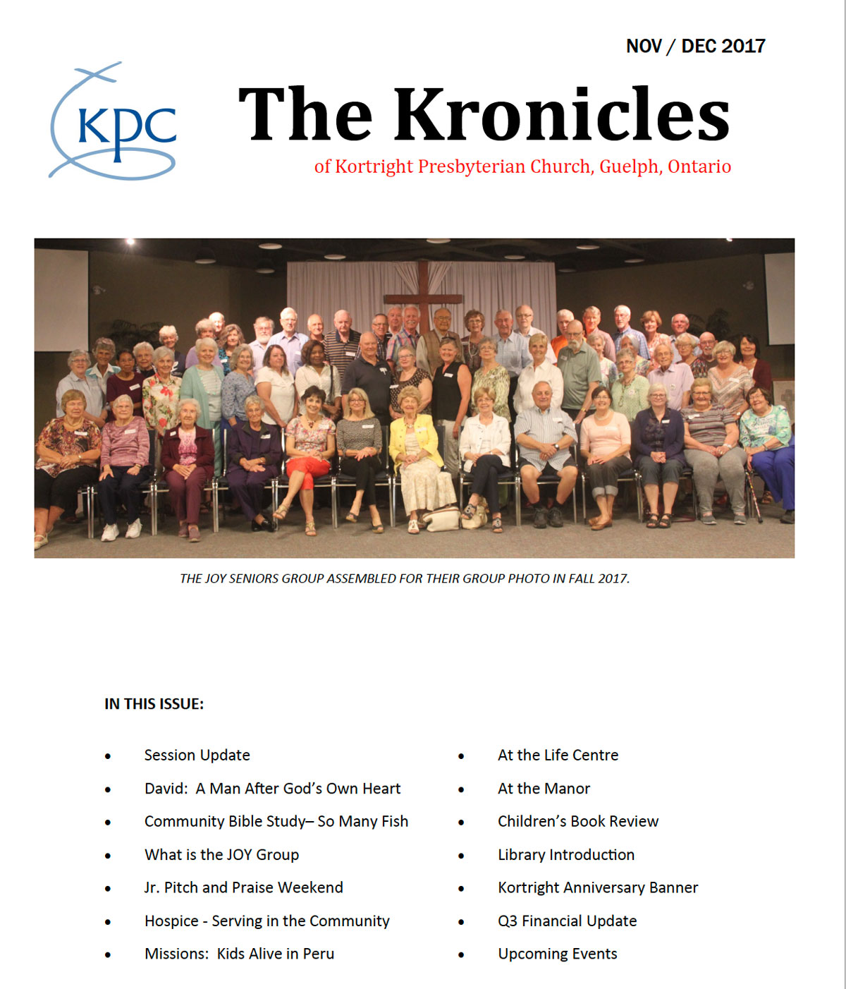 image of the front page of the Kortright Kronicles from November and December 2017