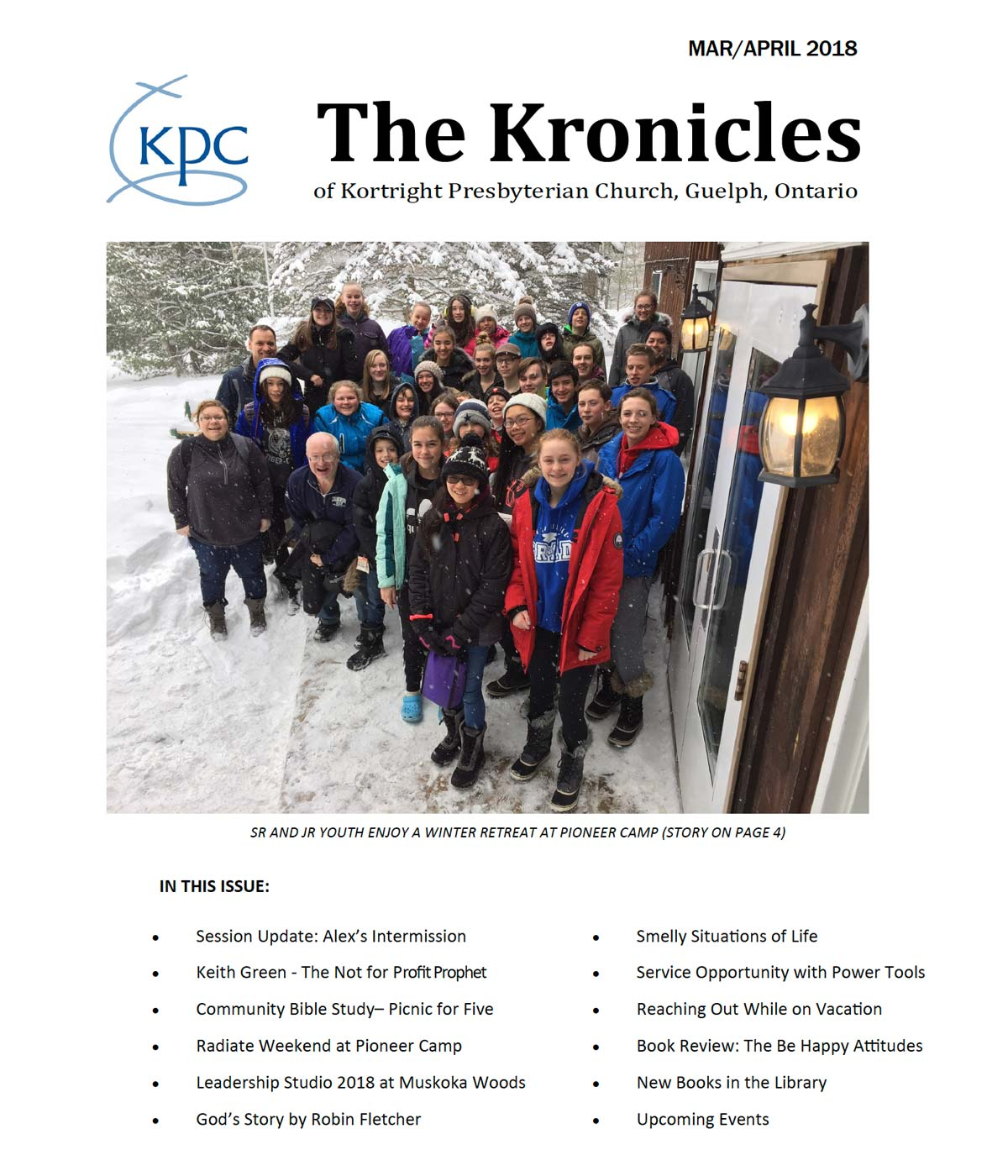image of the front page of the Kortright Kronicles from March and April 2018