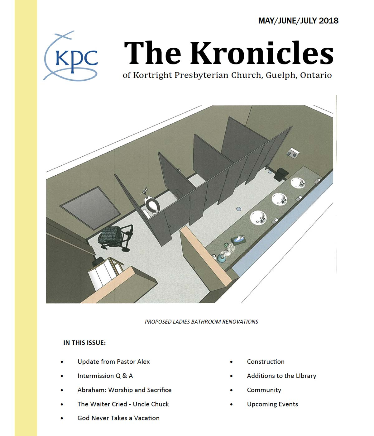 image of the front page of the Kortright Kronicles from May, June and July 2018