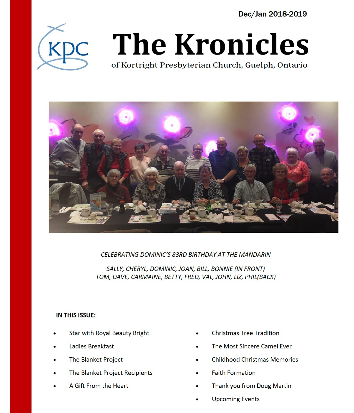 image of the front page of the Kortright Kronicles from December and January 2018-2019